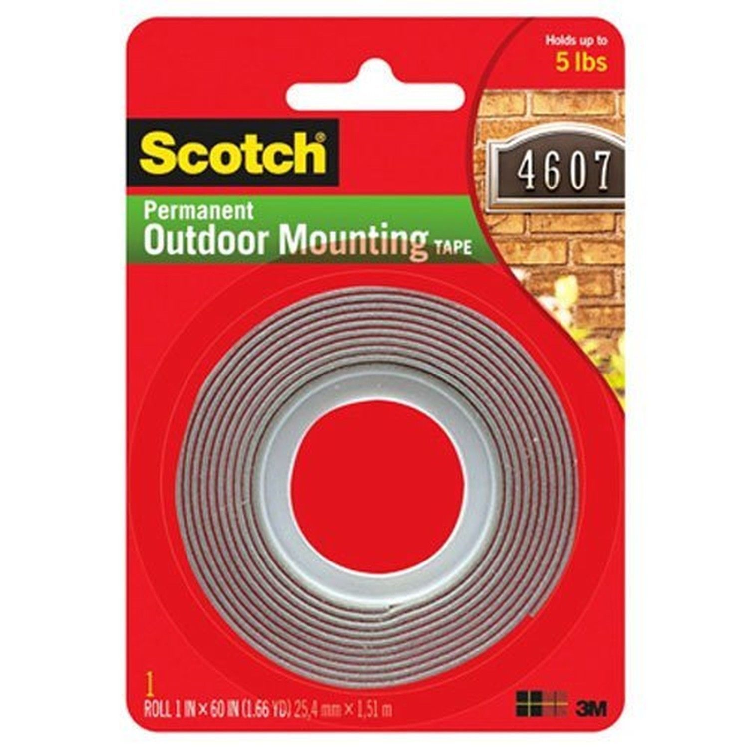 3M Scotch 4011 Exterior Mounting Tape 1 in x 60 in 1 Pack