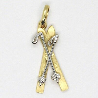 Yellow Gold Pendant White 750 18K, Ski and Rackets, Made in Italy