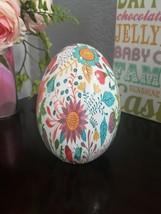 """Spring Summer Floral Easter Ceramic Egg Figurine Tabletop Decor 6"""" NEW - $22.99"""