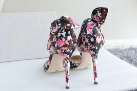 NEW AUTH JIMMY CHOO Pink Black Flower Pumps Heels Shoes 35.5 image 3