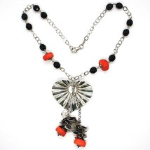 Necklace Silver 925, Heart Wavy, Cascade of Petals, Bunch, Coral image 2