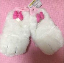 Tokyo Disney Resort limited Lady's Marie Ribbon gloves Mittens Fur pink ... - $54.45