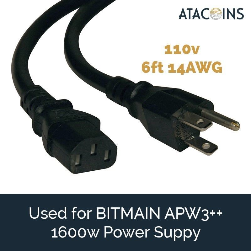 2x 6ft 15AMP Power Cord 14awg NEMA 5-15P - C13 USA  BITMAIN APW3++, Printer, PSU