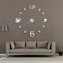 Cafe DIY Large Wall Clock Frameless Modern Design Coffee Mug Bean Kitche... - $41.37+