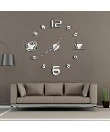 Cafe DIY Large Wall Clock Frameless Modern Design Coffee Mug Bean Kitche... - $41.38+
