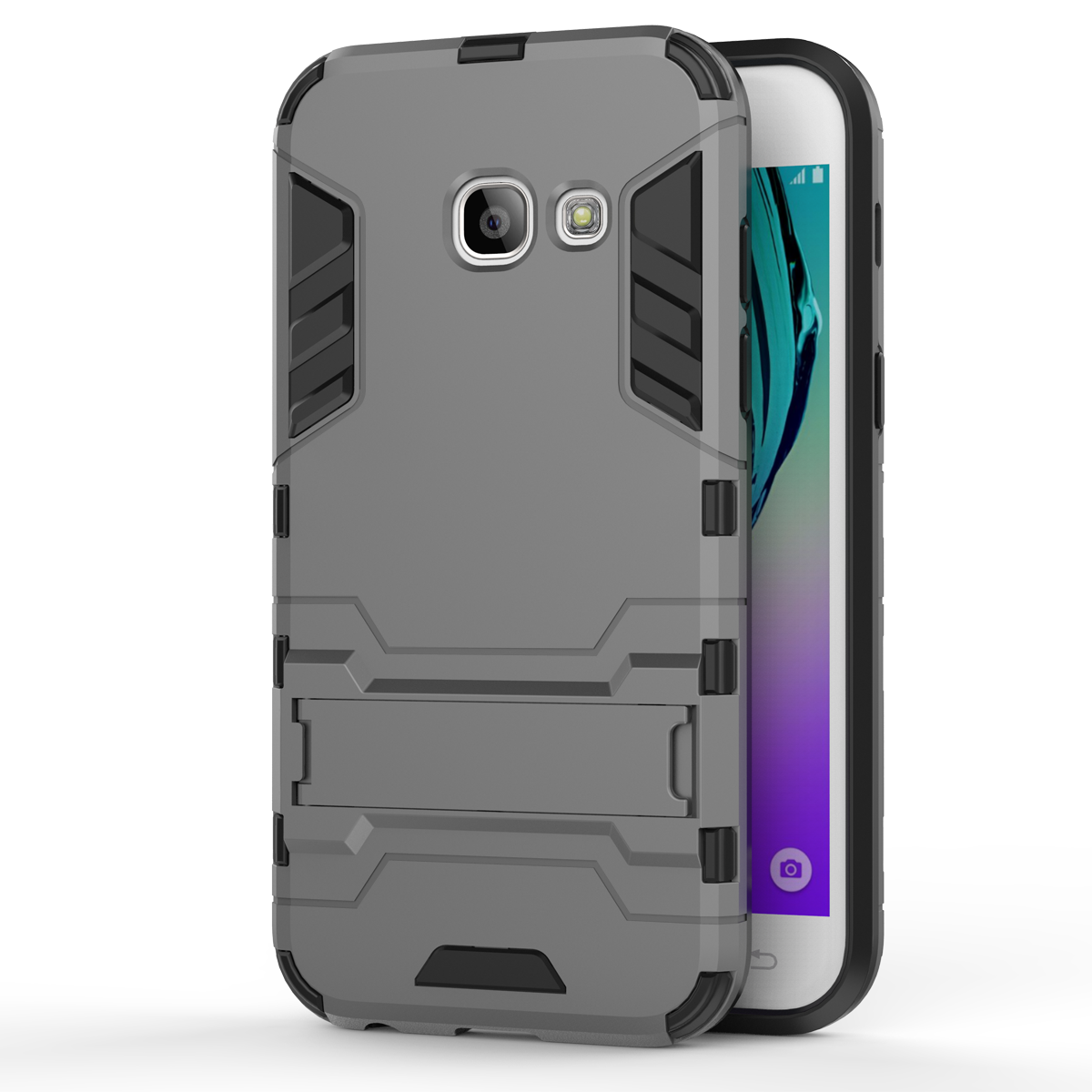 Armor Kickstand Protective Phone Cover Case for Samsung Galaxy A3 (2017) - Gray