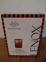 NEW IN BOX LENOX ETERNAL HALLOWEEN GLASS CAT BAT VOTIVE WITH TEALIGHT - $28.49