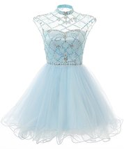 Short Illusion High Neckline Beading Prom Party Tulle Homecoming Dress S... - $136.00
