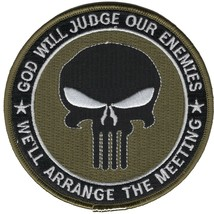 Punisher Skull Patch-God Will Judge Our Enemies OD Green - $11.87