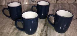 Set Of 4 Royal Norfolk BLUE/WHITE Stoneware 12 Oz Coffee Mugs CUPS-NEW-SHIPN24HR - $49.38