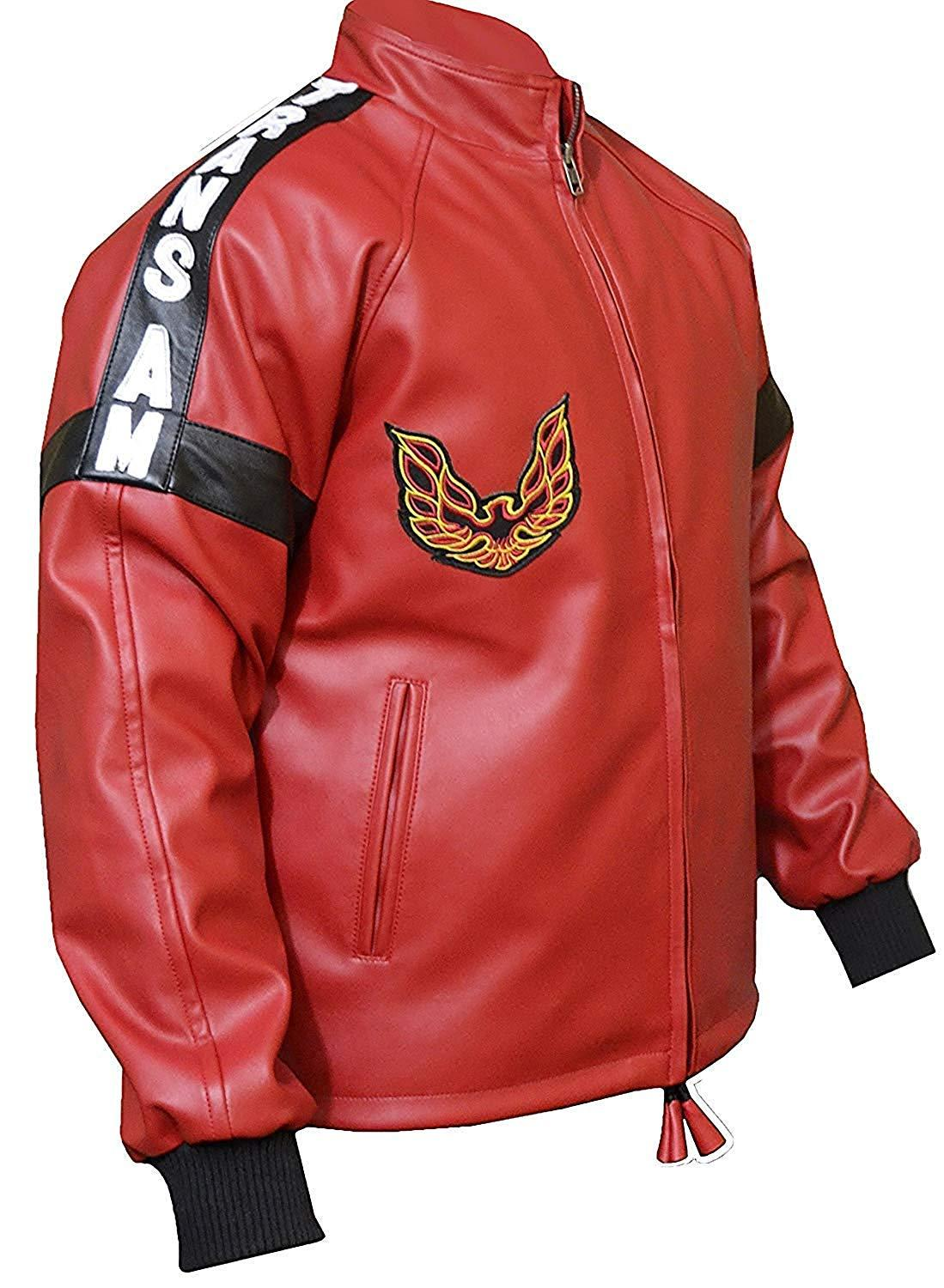 Men s smokey and the bandit red bomber leather jacket