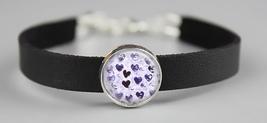 Purple Watercolor Hearts Adjustable Leather Bracelet - $14.95