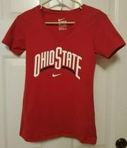 Womens Nike Ohio State University Buckeyes V Neck NCAA Logo Tee XS Athletic Cut - $11.64