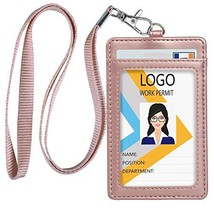 Leather ID Badge Holder, Vertical PU Leather ID Badge Holder with 1 Clea... - $7.08