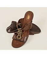 Dr. Scholls Avalon Brown Slip On Wedge Heel Sandals Gold Tone Top Rings ... - $23.76