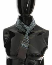 Dolce & Gabbana Mens Gray 100% Silk Blue White Pattern Scarf Wrap 140cm ... - $94.05