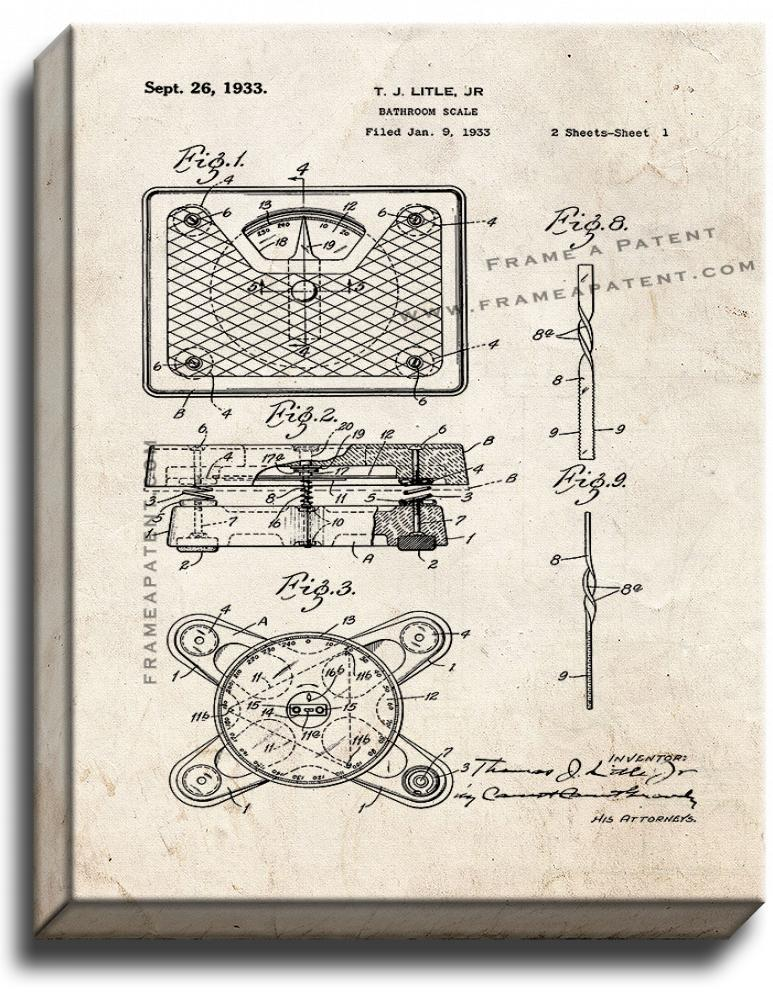 Primary image for Bathroom Scale Patent Print Old Look on Canvas