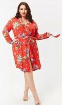 Forever 21 Kimono Largo Abrigo Duster Chaqueta Vestido Pareo Rojo - $16.28