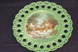 """Vintage Currier & Ives """"The Farmer's Home-Winter"""" Green Decorative Lace ... - $19.34"""