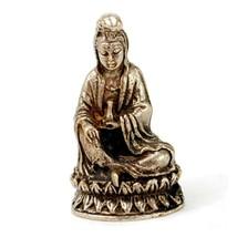 "MINIATURE WHITE BRONZE KWAN YIN STATUE 1"" Tiny Amulet Talisman Charm Qua... - $12.82"