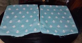 Pair of Turquoise Cream Print Decorative Print Throw Pillows  16 x 16 - $59.95