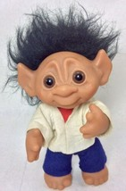 Vintage Troll Doll BlackHair Brown Eyes 604 Thomas Dam 1977 Denmark - $47.03