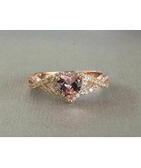 1.5CT Heart Cut Pink Morgonite Diamond Halo Engagement Ring 14K Rose Gol... - $78.18