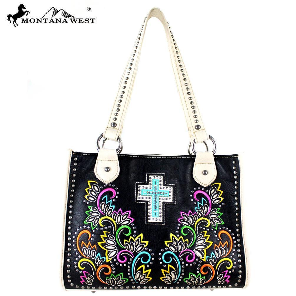 Montana West Spiritual Collection Tote Bag Black Cream
