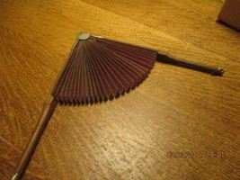 Pat 1881 Vintage Wood Metal & Fabric Fold Out Fan - $14.85