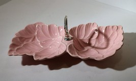 Vtg California Pottery No. 72 Pink Glaze Two Double Leaf Condiment Bon B... - $32.00