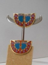 """Signed Laurel Burch Set~""""Sunface""""~Red/Teal/Lilac/Oge Enamel~Clip On Earrings+Pin - $75.00"""