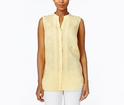 Charter Club Linen Ladder-Trim Shirt, Horizon Yellow. Large - $27.71