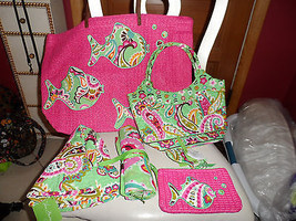 Vera Bradley Tutti Frutti lot- straw tote, hat, pouch, keychain, purse - $122.00
