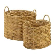 Natural Deep Oval Woven Baskets Hyacinth Straw With Handles Set Of 2 - $52.99