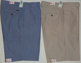 NEW Mens IZOD Flat-Front Oxford Casual Shorts 10.5 Inseam Blue MSRP $50 - $25.00