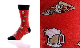 Yo Sox Men's Crew Sock - Pizza & Beer -Fits Size 7-12 - Blend of Cotton & Nylon