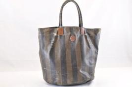FENDI Pequin Nylon Hand Bag Black Brown Auth 6102 - $88.00