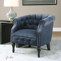 NEW ROYAL BLUE VELVET ACCENT CLUB OFFICE ARM CHAIR NICKEL NAIL HEAD DETAIL - $811.80