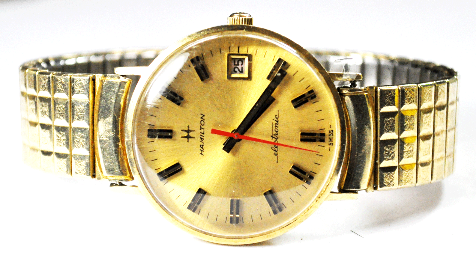 Vintage Hamilton Electronic 683 14k Solid Gold Wristwatch 34mm Date - $593.99