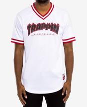 NEW MENS HUDSON TRAPPIN FLAME CHAPO BASEBALL JERSEY V-NECK WHITE T SHIRT... - $39.59