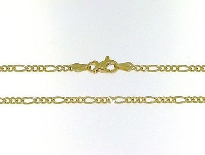 18K GOLD FIGARO CHAIN 2 MM WIDTH 20 INCH LENGTH ALTERNATE NECKLACE MADE IN ITALY