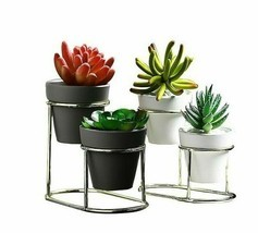 New Iron Frame Ceramic Green Flower Pot Automatic Drainage Table Top Met... - $22.22