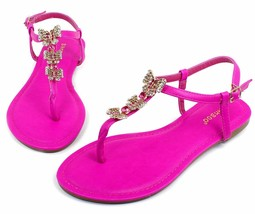 Grayson-17 New Butterfly Stone Flats Sandals Gladiator Party Women Shoes Fuchsia - $12.59