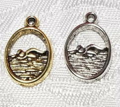 I LOVE TO SWIM SWIMMER FINE PEWTER PENDANT CHARM - 10.5mm L x 16.5mm W x 1.5mm D