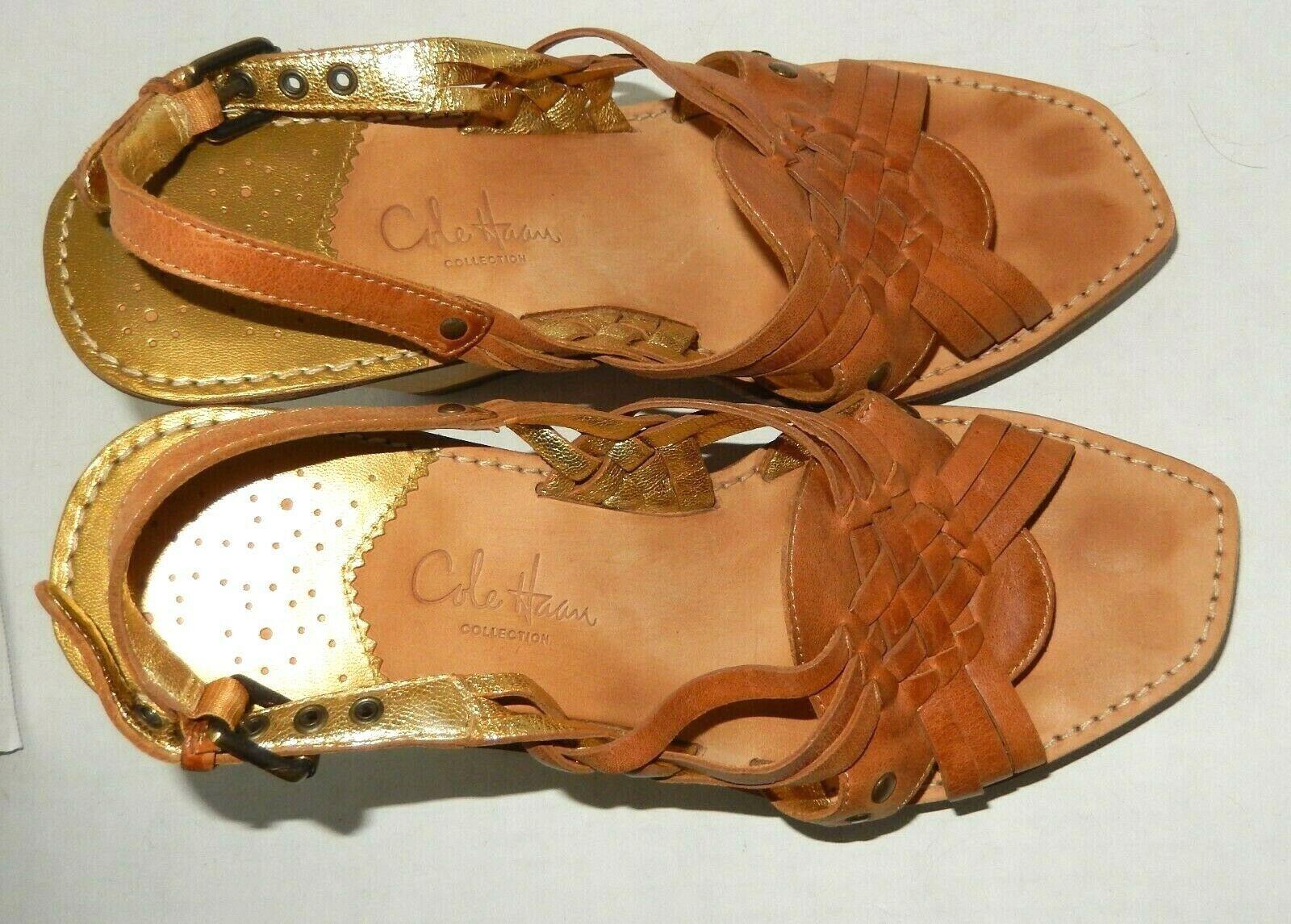 Medium Cole Haan Womens Paley High Wedge Sandstone//Lemon Ice Snake Print Sandal 9.5 B