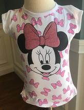 Disney Junior Minnie Girls Glitter Bow Minnie Tee Shirt Sizes: 4, 5, 6 & 6X New - $9.99