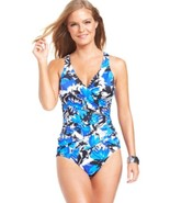 INC International Concepts One Piece Sz 14 Blue Multi Swimsuit Ruched 47... - $39.53