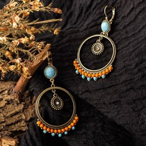 Vintage Ethnic Round Beads Dangle Drop Earrings Hanging for Women Female Fashion - $16.09