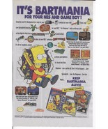 Vintage 1991 SIMPSONS Nintendo NES Gameboy game Ad Bartmania Bart World ... - $2.99