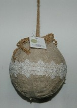 Sage Company XAO13688TA Silvered Torn Linen Ball Ornament 7 inches image 1